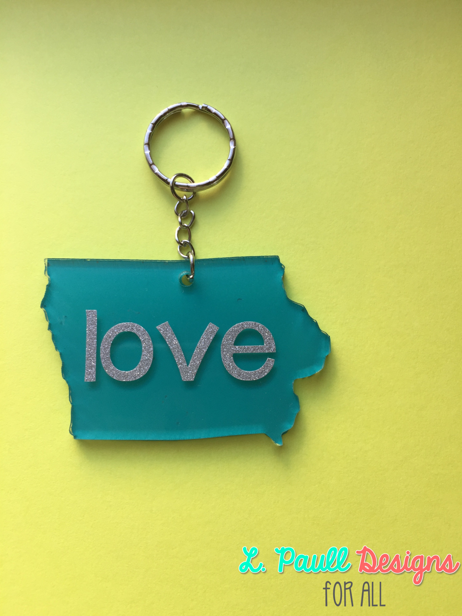Turquoise with Silver Glitter Block Lettering
