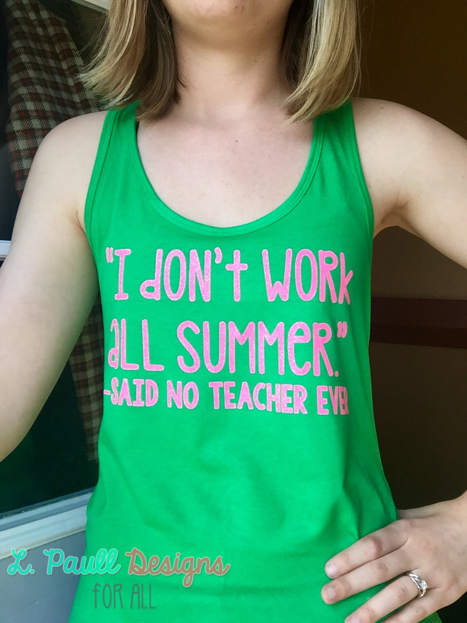 Kelly Green Ladies Fitted Tank (Medium) Neon Pink Text