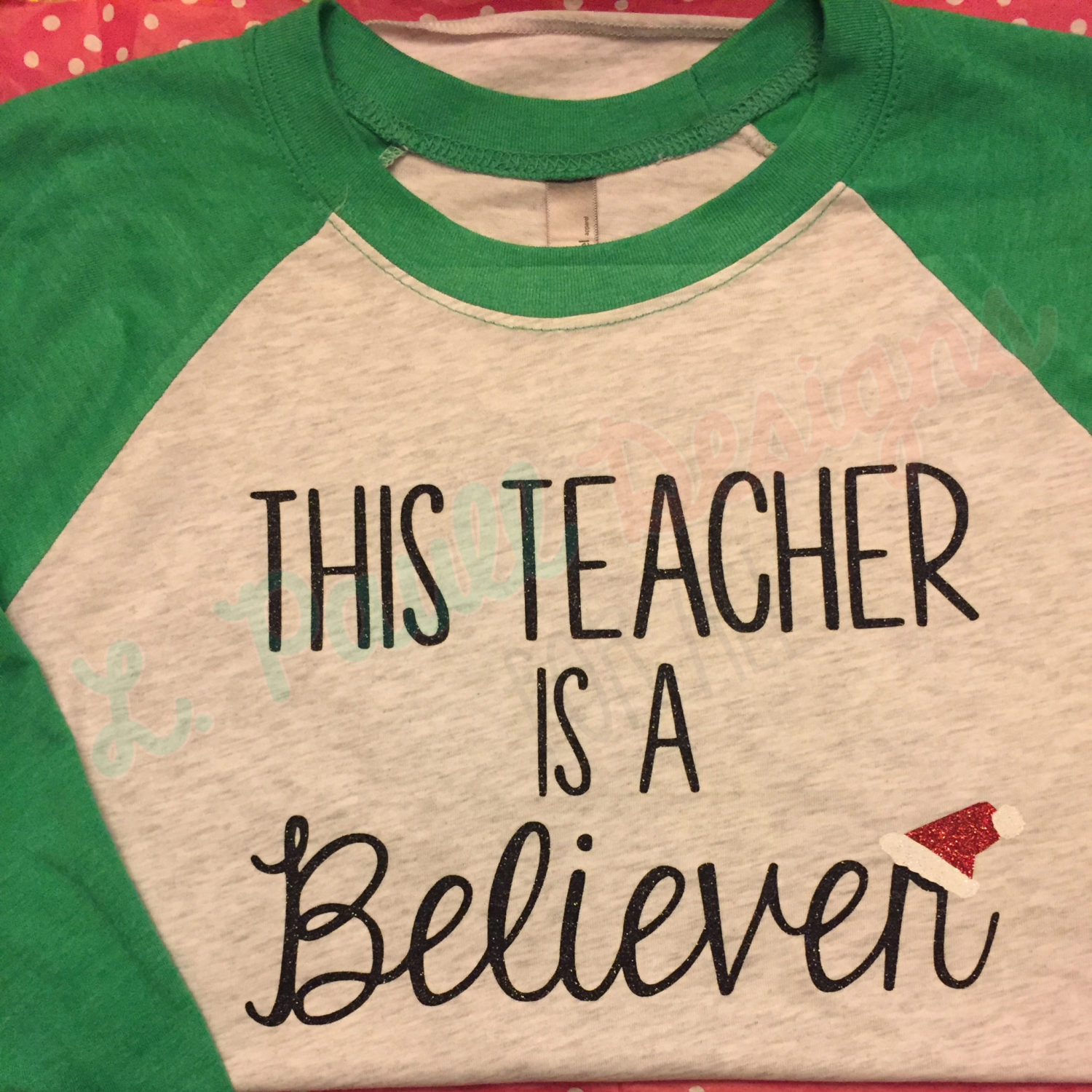 This teacher is a believer raglan tee  Envy White with Black Glitter