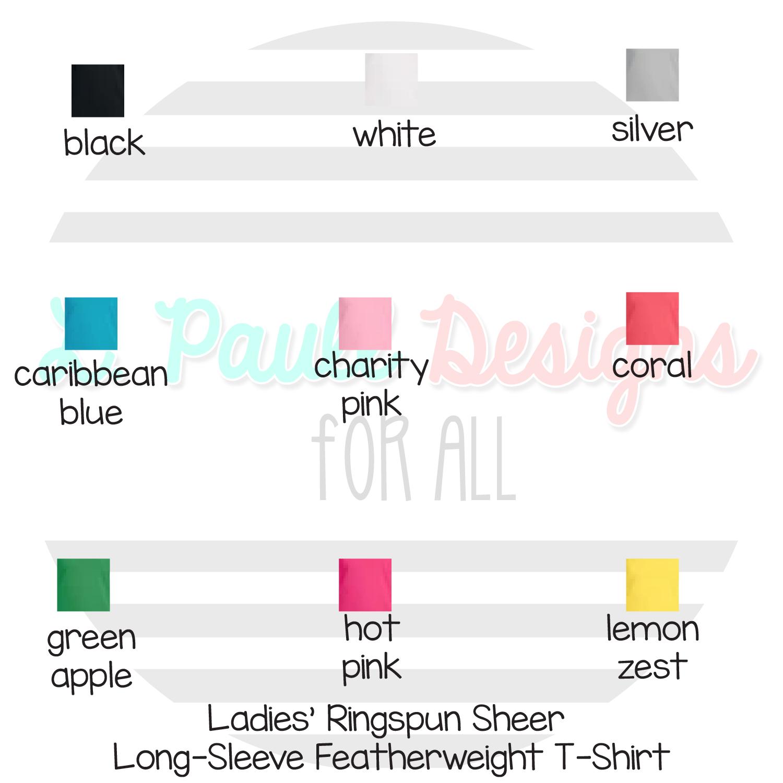 Ladies Long Sleeve Tee Colors